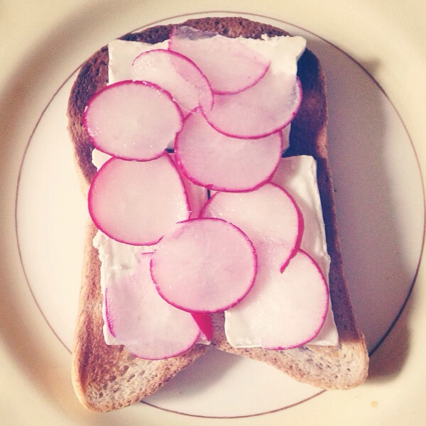 Goats cheese and radish toast