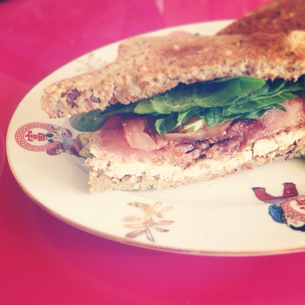 Bacon, feta and spinach sandwhich