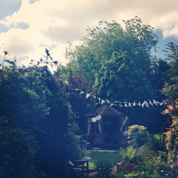 Bunting in the garden
