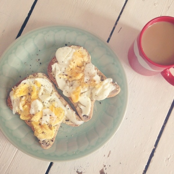 Boiled eggs on gluten free toast